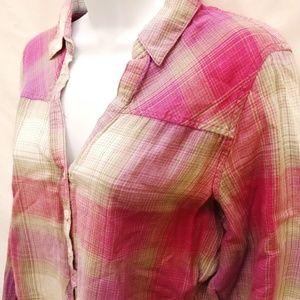 Columbia Pink/Tan Plaid Popover Tunic L